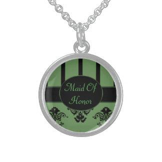 Olivgrün-u. Schwarz-Streifen, Monogramm-Barock Sterling Silberkette
