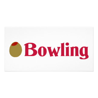 Olivgrüner (i-Liebe-) Bowling Photo Grußkarte