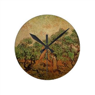Olivgrünes Sammeln Van Gogh, Vintage feine Kunst Runde Wanduhr
