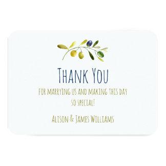 Ölzweig-Aquarellhochzeit danken Ihnen zu kardieren 8,9 X 12,7 Cm Einladungskarte