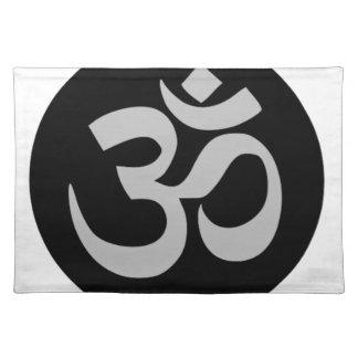 Om-Symbol, Silber und Schwarzes Tischset