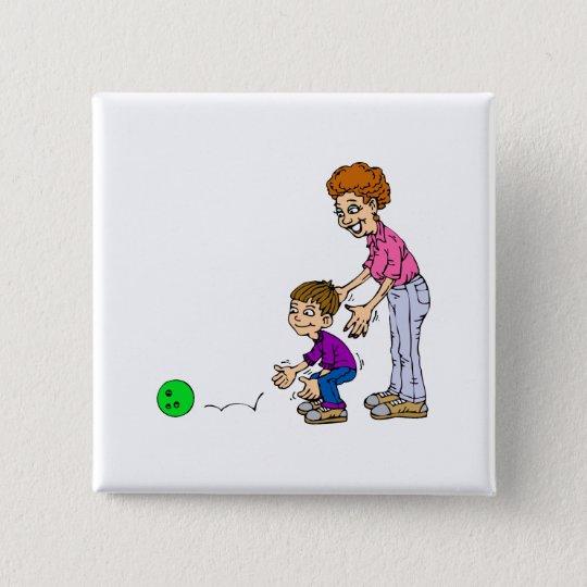 Oma-u. Jungen-Bowling Quadratischer Button 5,1 Cm