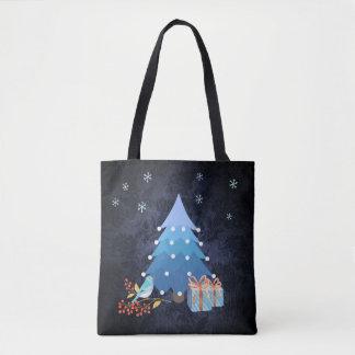 Ombre blauer Weihnachtsbaum mit Geschenken Tasche