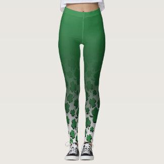 Ombre u. Grün über schwarzem Kleeblatt-Muster auf Leggings