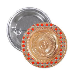 OMMANTRA OmMantra Goldemblemhinduismus-Symbolspaß Runder Button 2,5 Cm