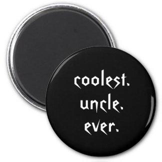 Oncle le plus frais blanc noir Ever Magnet Magnet Rond 8 Cm