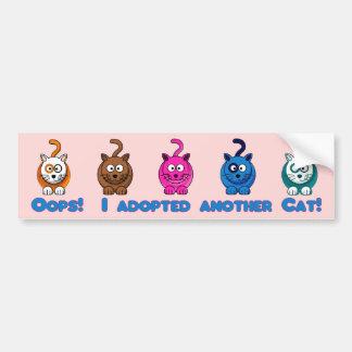 Oops!  Ich adoptierte eine andere Katze! Autoaufkleber