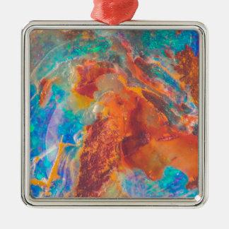 Opalachat-Marmor-Platte Silbernes Ornament