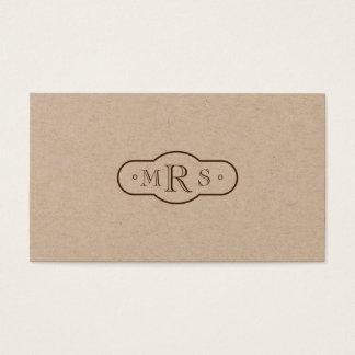 Openface Schriftartmit Monogramm Retro Bistre Visitenkarte