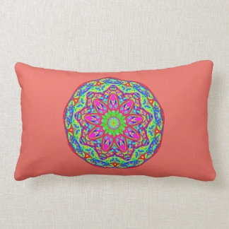Optimismus-Prisma-Aqua-Mandala-korallenrotes rosa Lendenkissen