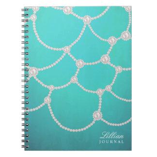 Opulente Perlen und Aqua Spiral Notizblock