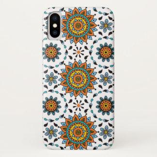 Opulentes Muster-Orangen-Aqua Maharadscha-Indien iPhone X Hülle