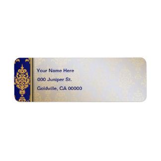 Or de damassé d'aile gauche de bleu royal étiquette d'adresse retour