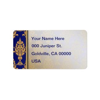 Or de damassé sur le bleu royal étiquette d'adresse