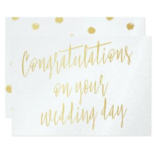 """Or """"félicitations votre jour du mariage """" carton d'invitation  12,7 cm x 17,78 cm"""