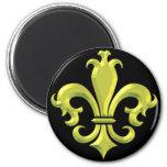 Or la Nouvelle-Orléans de Fleur De LIs Fancy Magnet Rond 8 Cm