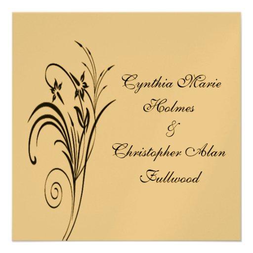 Or métallique floral fin et invitations noirs de m