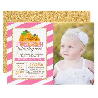 Or rose peu de photo d'anniversaire de fille de carton d'invitation  12,7 cm x 17,78 cm