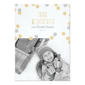 Or scintillement photo carte de Noël Carton D'invitation 12,7 Cm X 17,78 Cm