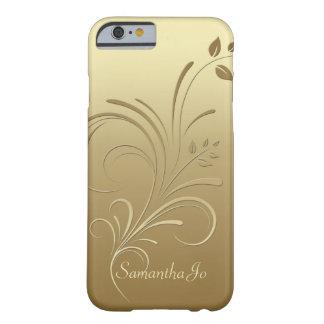 Or sur le cas floral de l'iPhone 6 de monogramme Coque iPhone 6 Barely There