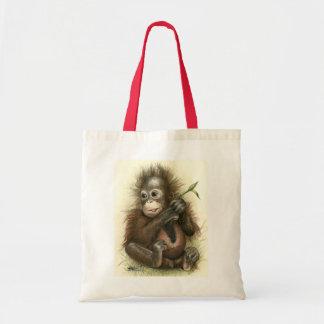 Orang-Utan Baby mit Blätter Budget Stoffbeutel