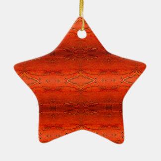 Orange aztekisches Muster Keramik Stern-Ornament