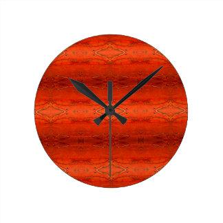 Orange aztekisches Muster Runde Wanduhr