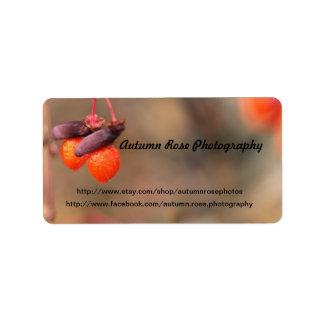 orange Beeren Adressetiketten