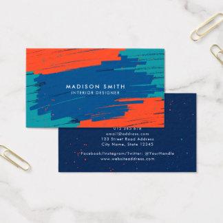 Orange blaue aquamarine vibrierende moderne mutige visitenkarte