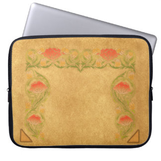 Orange Blume auf ockerhaltigem Laptop Sleeve