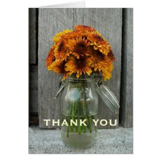 Orange Blumen u. Scheunen-Holz dankt Ihnen zu Karte