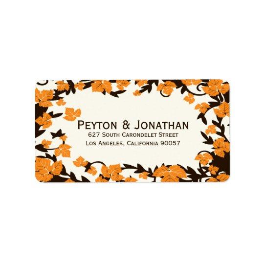 Orange Brown-Herbst verlässt Adressen-Etiketten Adressaufkleber