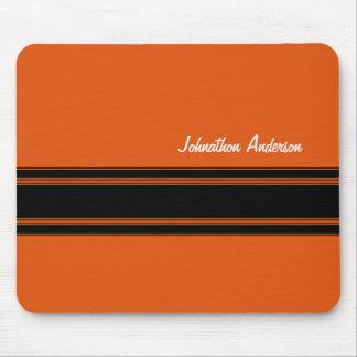 Orange brûlée moderne emballant des rayures avec l tapis de souris