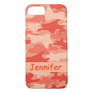 Orange Camouflage-Tarnungs-Name personalisiert iPhone 7 Hülle