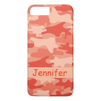 Orange Camouflage-Tarnungs-Name personalisiert iPhone 7 Plus Hülle