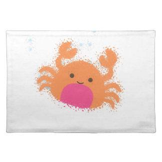 Orange Cartoon-Krabbe Stofftischset