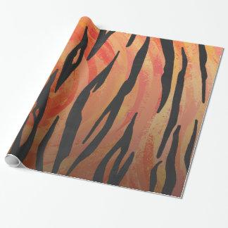 Orange des Tigers heißer und schwarzer Druck Geschenkpapier