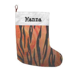 Orange des Tigers heißer und schwarzer Druck Großer Weihnachtsstrumpf