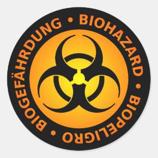 Orange dreisprachige Biogefährdung-Warnung Runder Aufkleber
