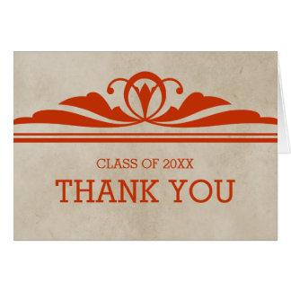 Orange eleganter Deko-Abschluss danken Ihnen zu Grußkarte
