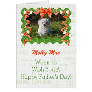 Orange et vert de la fête des pères de chien carte de vœux