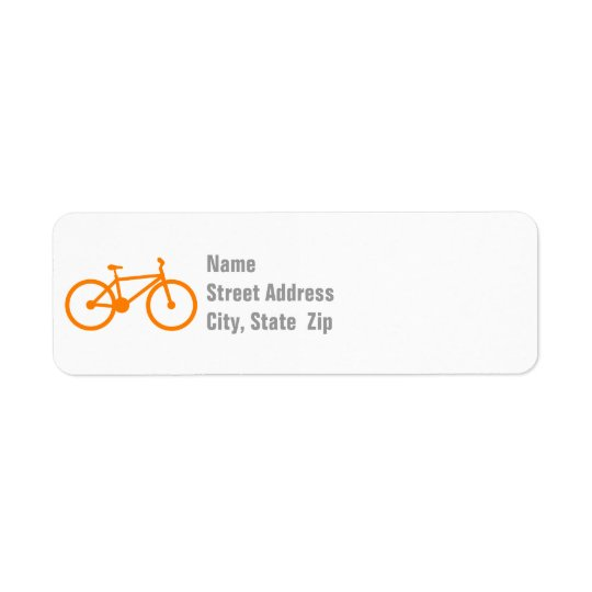 Orange Fahrrad Kleiner Adressaufkleber