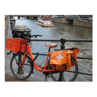 Orange Fahrrad-Postkarte Postkarte