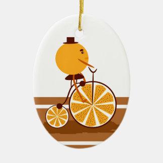 Orange Fahrt Ovales Keramik Ornament