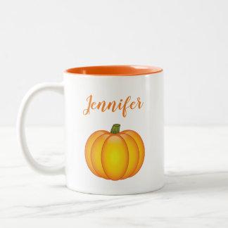 Orange Fall-Kürbis-Illustration mit individuellem Zweifarbige Tasse