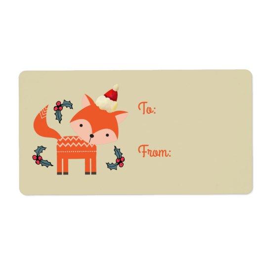 Orange Fox Weihnachtsmannmütze-im niedlichen Retro