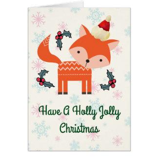 Orange Fox Weihnachtsmannmütze-in der wunderlichen Karte