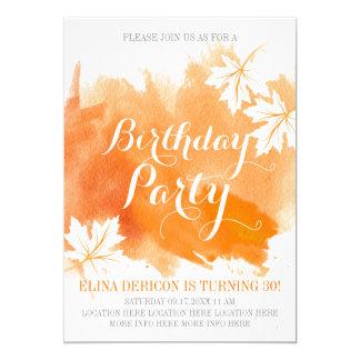 Orange Geburtstags-Party des modernen abstrakten 12,7 X 17,8 Cm Einladungskarte