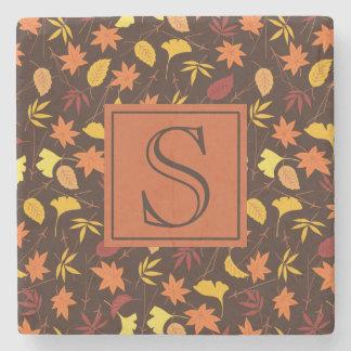 Orange Gelb-Herbstlaub-Brown-Monogramm-Untersetzer Steinuntersetzer