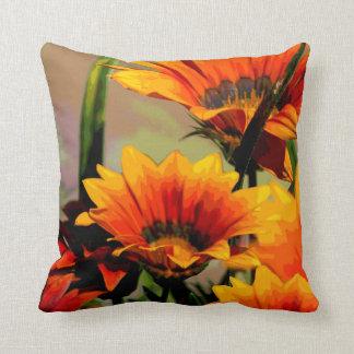 Orange Gelb mit Blumen Kissen
